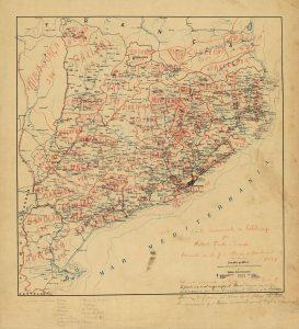 Imatge: Carta comarcal de Catalunya de Norbert Font i Sagué, premiada als Jocs Florals de Barcelona l'any 1897. © Institut Cartogràfic i Geològic de Catalunya.